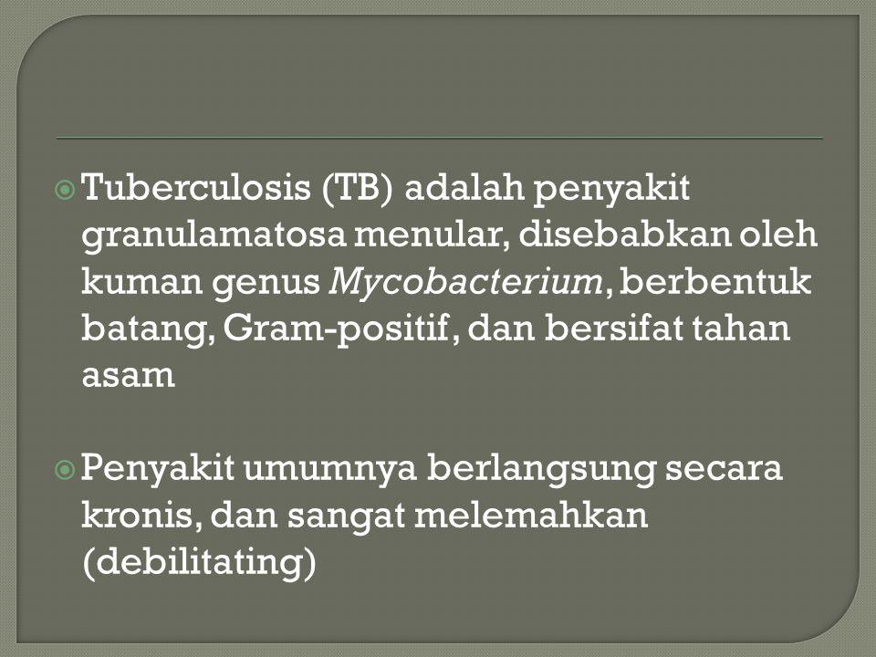  Tipe-tipe utama dari Mycobacterium tuberculosis complex (basil tuberkel mamalia) yang dikenal adalah: M tuberculosis M bovis M caprae M pinnipedii M microti, dan M africanum