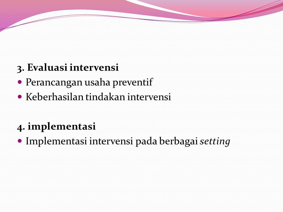 3. Evaluasi intervensi Perancangan usaha preventif Keberhasilan tindakan intervensi 4.