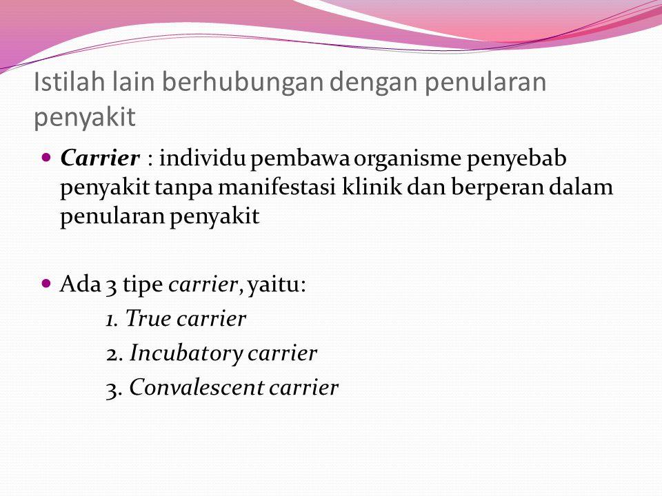 Istilah lain berhubungan dengan penularan penyakit Carrier : individu pembawa organisme penyebab penyakit tanpa manifestasi klinik dan berperan dalam penularan penyakit Ada 3 tipe carrier, yaitu: 1.