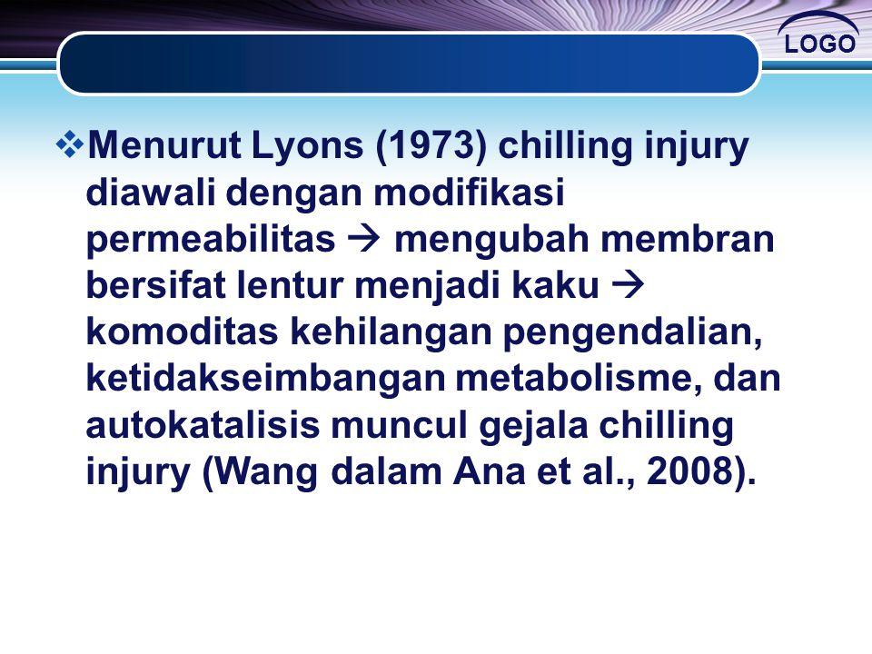 LOGO  Menurut Lyons (1973) chilling injury diawali dengan modifikasi permeabilitas  mengubah membran bersifat lentur menjadi kaku  komoditas kehila