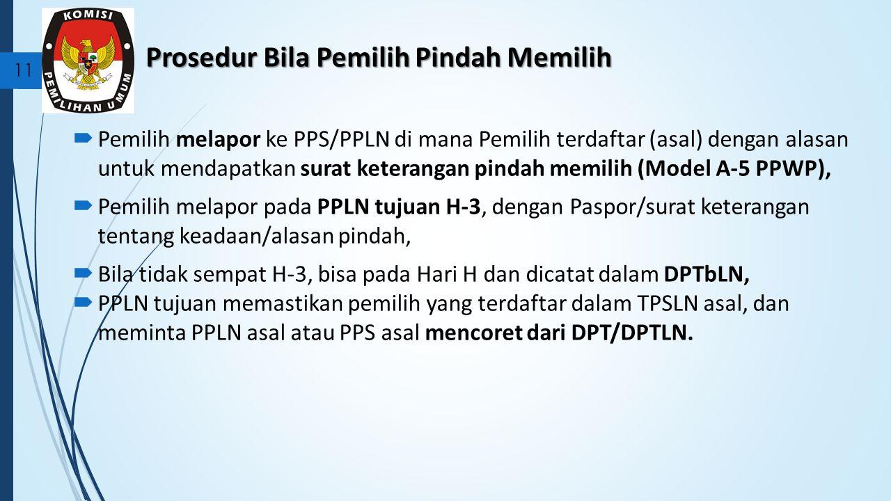 Prosedur Bila Pemilih Pindah Memilih  Pemilih melapor ke PPS/PPLN di mana Pemilih terdaftar (asal) dengan alasan untuk mendapatkan surat keterangan pindah memilih (Model A-5 PPWP),  Pemilih melapor pada PPLN tujuan H-3, dengan Paspor/surat keterangan tentang keadaan/alasan pindah,  Bila tidak sempat H-3, bisa pada Hari H dan dicatat dalam DPTbLN,  PPLN tujuan memastikan pemilih yang terdaftar dalam TPSLN asal, dan meminta PPLN asal atau PPS asal mencoret dari DPT/DPTLN.