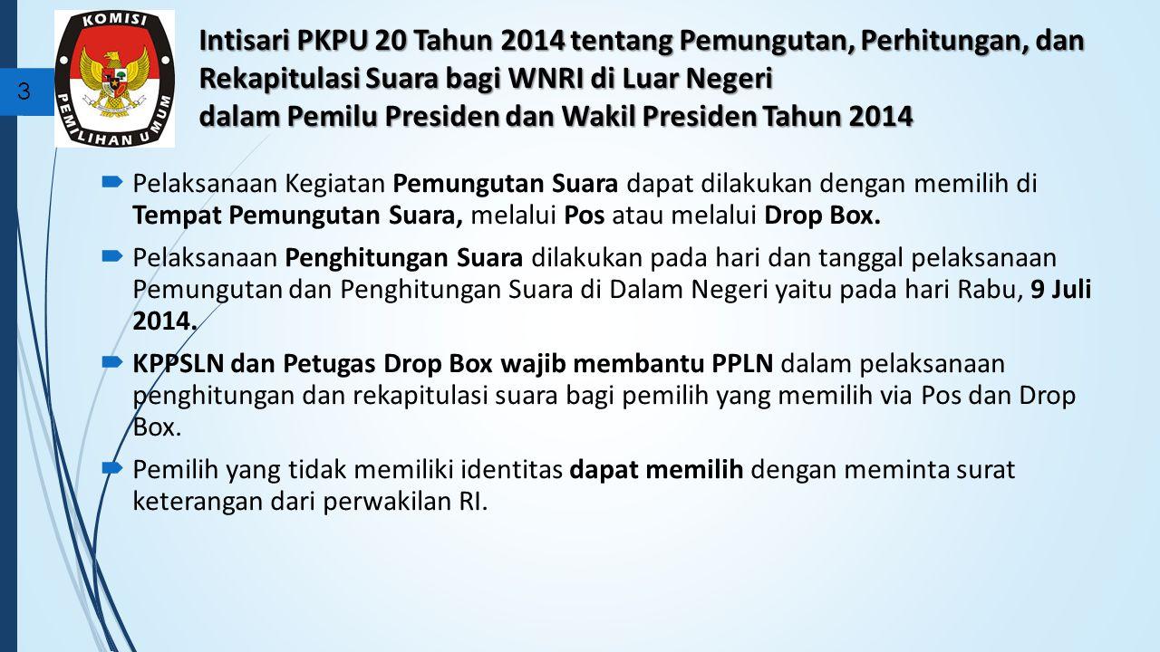 Intisari PKPU 20 Tahun 2014 tentang Pemungutan, Perhitungan, dan Rekapitulasi Suara bagi WNRI di Luar Negeri dalam Pemilu Presiden dan Wakil Presiden Tahun 2014 3  Pelaksanaan Kegiatan Pemungutan Suara dapat dilakukan dengan memilih di Tempat Pemungutan Suara, melalui Pos atau melalui Drop Box.