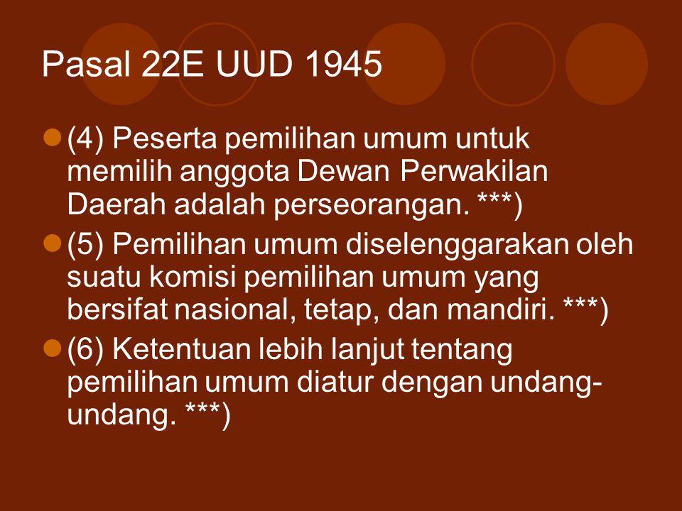 Pasal 22E UUD 1945 (4) Peserta pemilihan umum untuk memilih anggota Dewan Perwakilan Daerah adalah perseorangan. ***) (5) Pemilihan umum diselenggarak