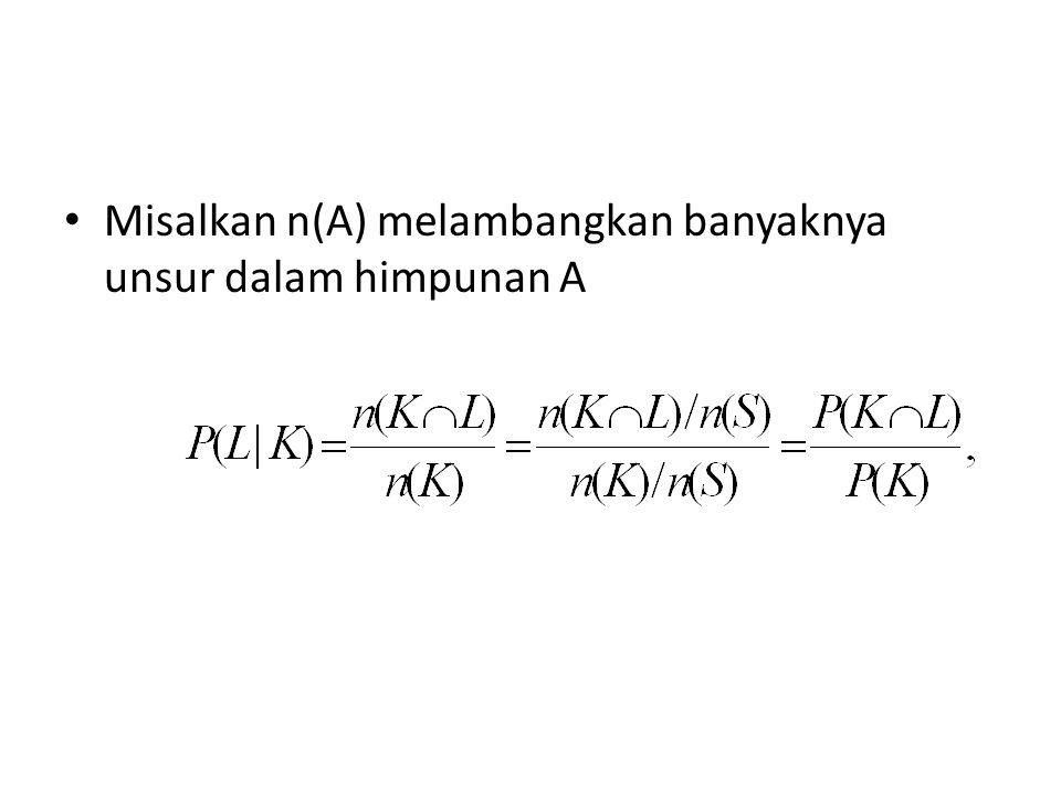 Misalkan n(A) melambangkan banyaknya unsur dalam himpunan A