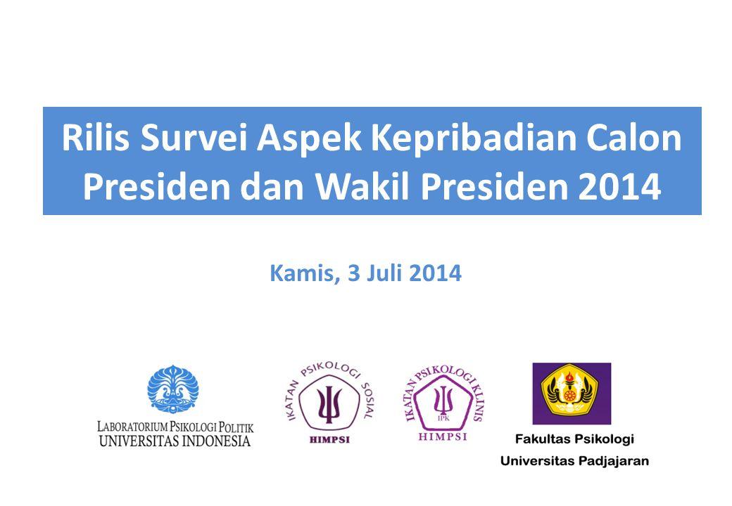 Rilis Survei Aspek Kepribadian Calon Presiden dan Wakil Presiden 2014 Kamis, 3 Juli 2014