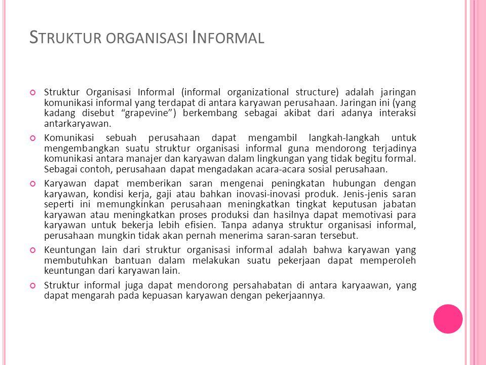 S TRUKTUR ORGANISASI I NFORMAL Struktur Organisasi Informal (informal organizational structure) adalah jaringan komunikasi informal yang terdapat di antara karyawan perusahaan.