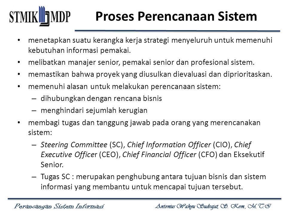 Perancangan Sistem Informasi Antonius Wahyu Sudrajat, S. Kom., M.T.I Proses Perencanaan Sistem menetapkan suatu kerangka kerja strategi menyeluruh unt