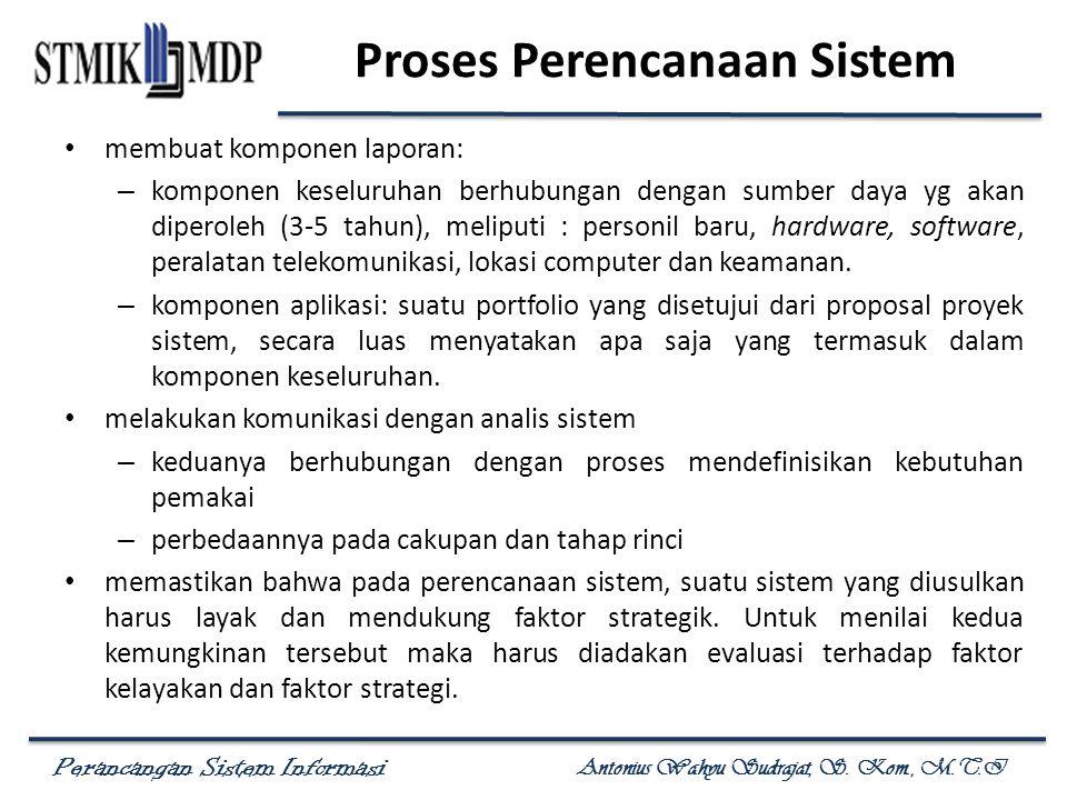 Perancangan Sistem Informasi Antonius Wahyu Sudrajat, S. Kom., M.T.I Proses Perencanaan Sistem membuat komponen laporan: – komponen keseluruhan berhub