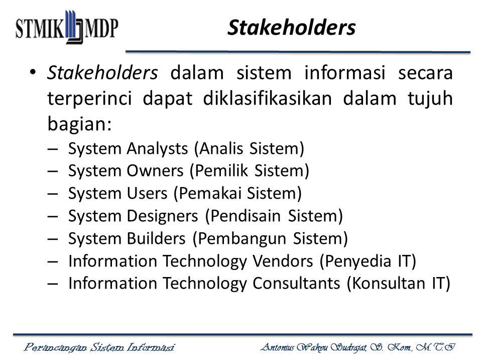 Perancangan Sistem Informasi Antonius Wahyu Sudrajat, S. Kom., M.T.I Stakeholders Stakeholders dalam sistem informasi secara terperinci dapat diklasif