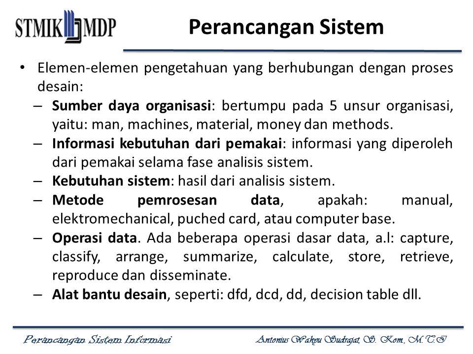 Perancangan Sistem Informasi Antonius Wahyu Sudrajat, S. Kom., M.T.I Perancangan Sistem Elemen-elemen pengetahuan yang berhubungan dengan proses desai
