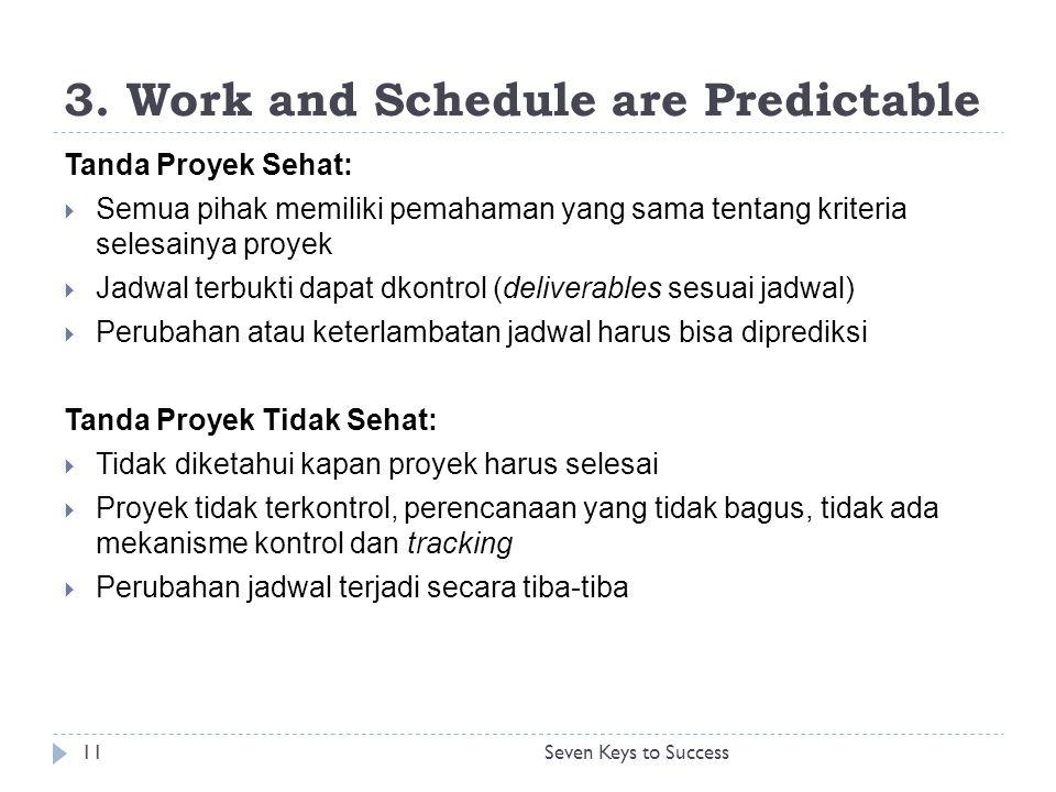 3. Work and Schedule are Predictable Tanda Proyek Sehat:  Semua pihak memiliki pemahaman yang sama tentang kriteria selesainya proyek  Jadwal terbuk