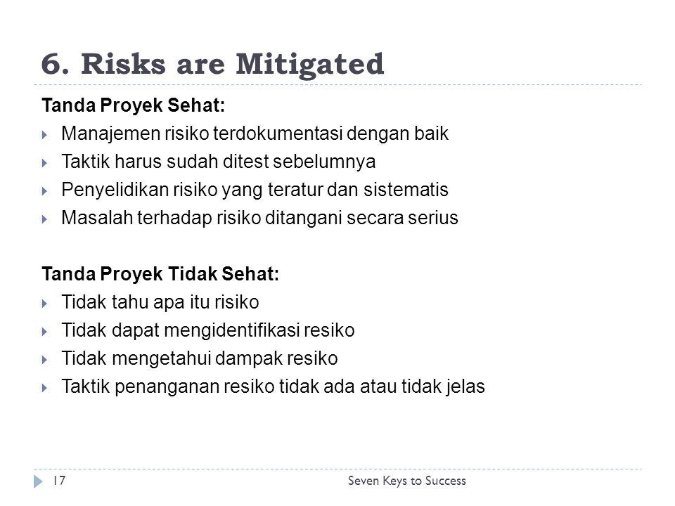 6. Risks are Mitigated Tanda Proyek Sehat:  Manajemen risiko terdokumentasi dengan baik  Taktik harus sudah ditest sebelumnya  Penyelidikan risiko