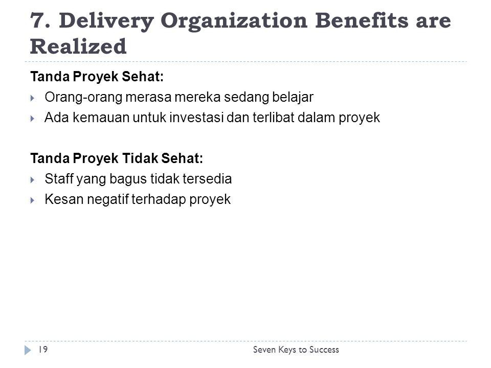 7. Delivery Organization Benefits are Realized Tanda Proyek Sehat:  Orang-orang merasa mereka sedang belajar  Ada kemauan untuk investasi dan terlib