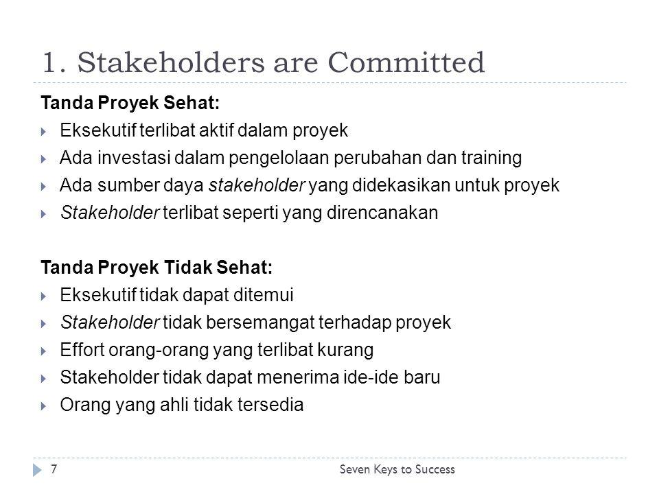 1. Stakeholders are Committed 7Seven Keys to Success Tanda Proyek Sehat:  Eksekutif terlibat aktif dalam proyek  Ada investasi dalam pengelolaan per
