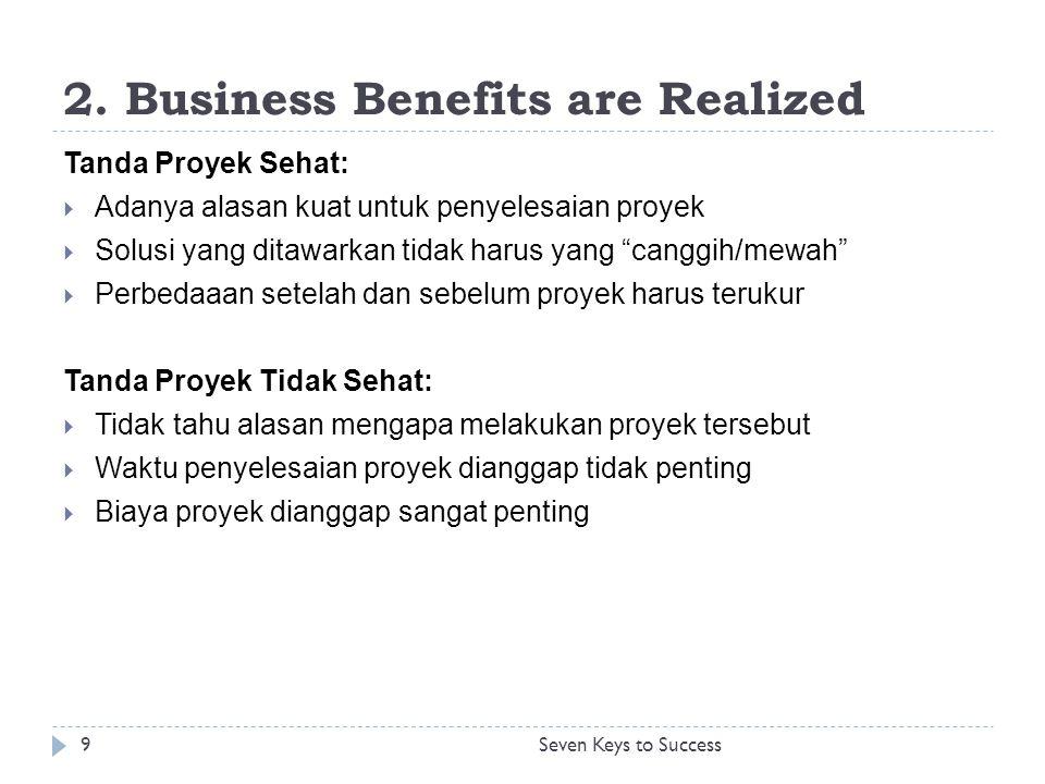"""2. Business Benefits are Realized Tanda Proyek Sehat:  Adanya alasan kuat untuk penyelesaian proyek  Solusi yang ditawarkan tidak harus yang """"canggi"""