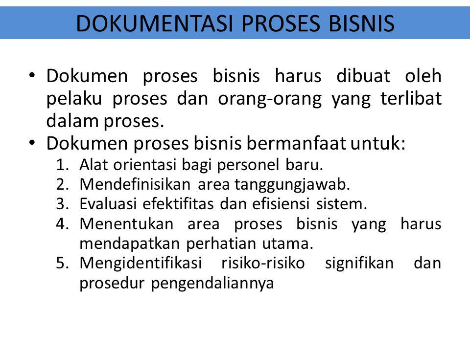 DOKUMENTASI PROSES BISNIS Dokumen proses bisnis harus dibuat oleh pelaku proses dan orang-orang yang terlibat dalam proses. Dokumen proses bisnis berm