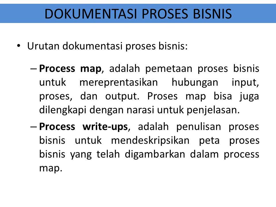 DOKUMENTASI PROSES BISNIS Urutan dokumentasi proses bisnis: – Process map, adalah pemetaan proses bisnis untuk mereprentasikan hubungan input, proses,