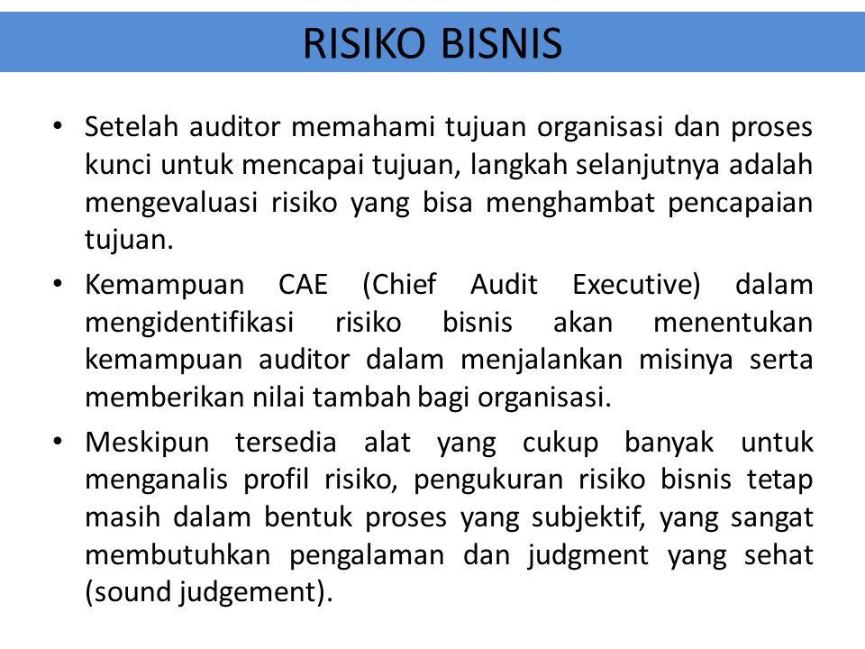 RISIKO BISNIS Setelah auditor memahami tujuan organisasi dan proses kunci untuk mencapai tujuan, langkah selanjutnya adalah mengevaluasi risiko yang b