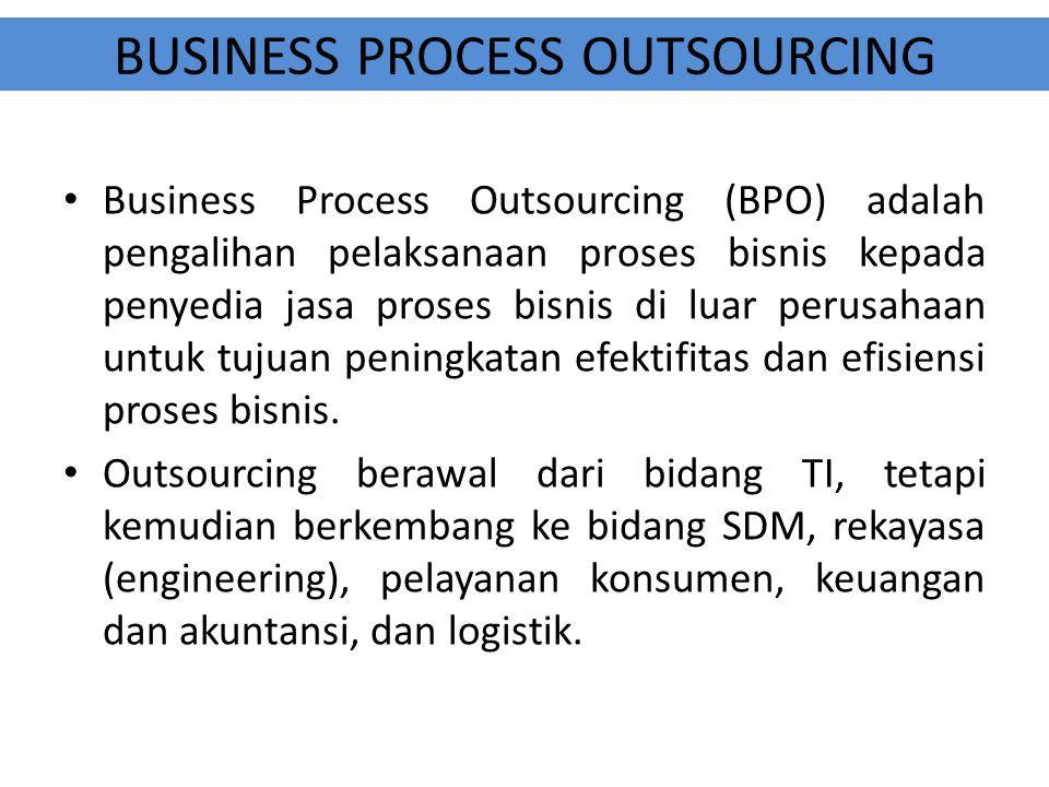 BUSINESS PROCESS OUTSOURCING Business Process Outsourcing (BPO) adalah pengalihan pelaksanaan proses bisnis kepada penyedia jasa proses bisnis di luar