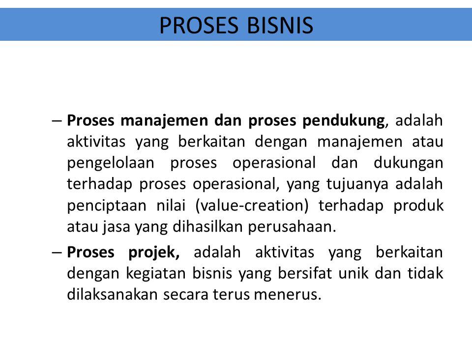 PROSES BISNIS Proses operasi adalah proses bisnis yang berhubungan dengan tujuan utama berdirinya perusahaan, contoh: untuk perusahaan manufaktur mencakup kegiatan produksi dan penjualan, untuk perusahaan jasa mencakup pemasaran dan pemberian jasa, dan seterusnya.
