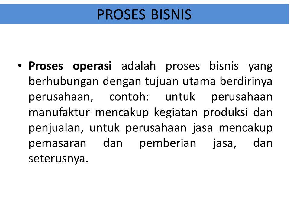 PROSES BISNIS Proses operasi adalah proses bisnis yang berhubungan dengan tujuan utama berdirinya perusahaan, contoh: untuk perusahaan manufaktur menc