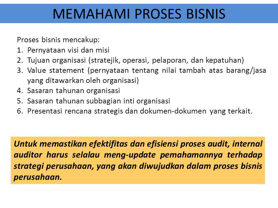 MEMAHAMI PROSES BISNIS Proses bisnis mencakup: 1.Pernyataan visi dan misi 2.Tujuan organisasi (stratejik, operasi, pelaporan, dan kepatuhan) 3.Value s