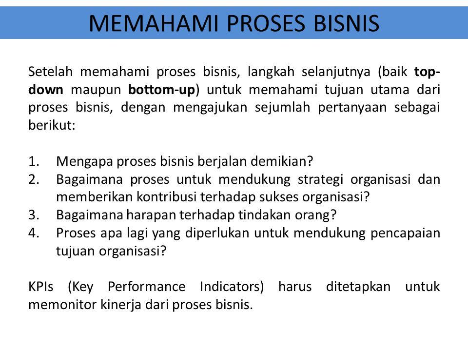MEMAHAMI PROSES BISNIS Setelah memahami proses bisnis, langkah selanjutnya (baik top- down maupun bottom-up) untuk memahami tujuan utama dari proses b
