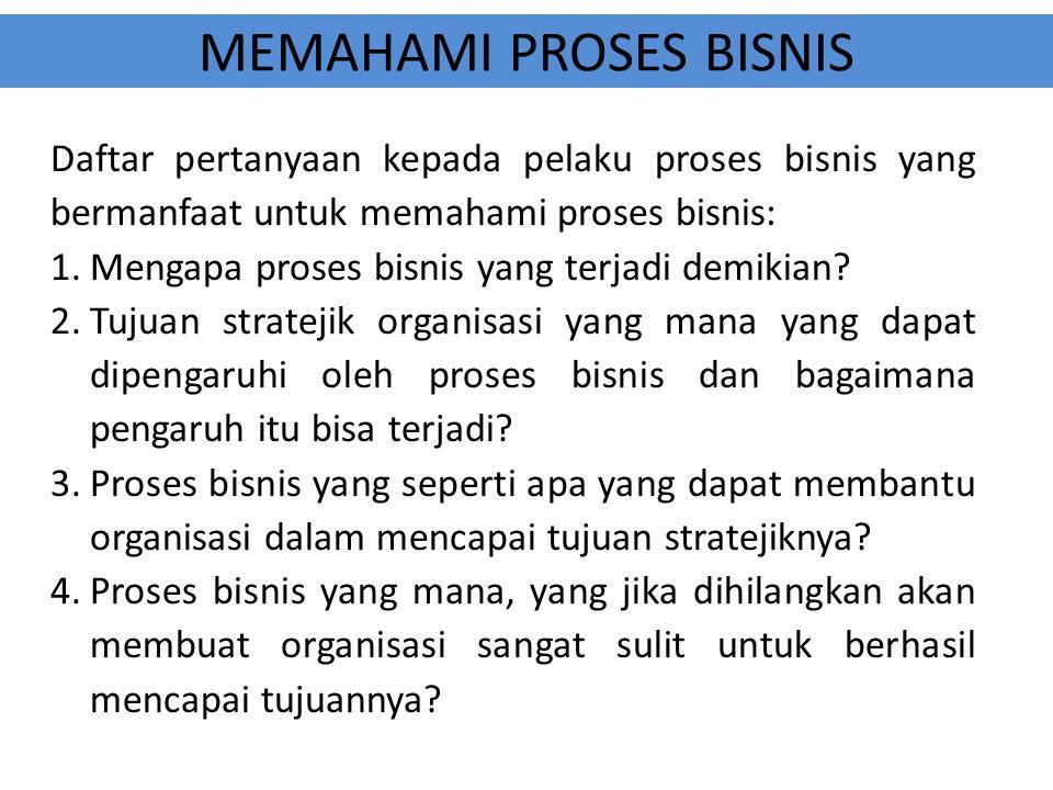 MEMAHAMI PROSES BISNIS Daftar pertanyaan kepada pelaku proses bisnis yang bermanfaat untuk memahami proses bisnis: 1.Mengapa proses bisnis yang terjad