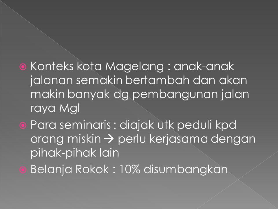  Konteks kota Magelang : anak-anak jalanan semakin bertambah dan akan makin banyak dg pembangunan jalan raya Mgl  Para seminaris : diajak utk peduli kpd orang miskin  perlu kerjasama dengan pihak-pihak lain  Belanja Rokok : 10% disumbangkan