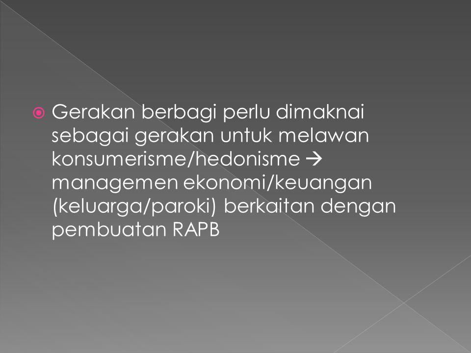  Gerakan berbagi perlu dimaknai sebagai gerakan untuk melawan konsumerisme/hedonisme  managemen ekonomi/keuangan (keluarga/paroki) berkaitan dengan pembuatan RAPB