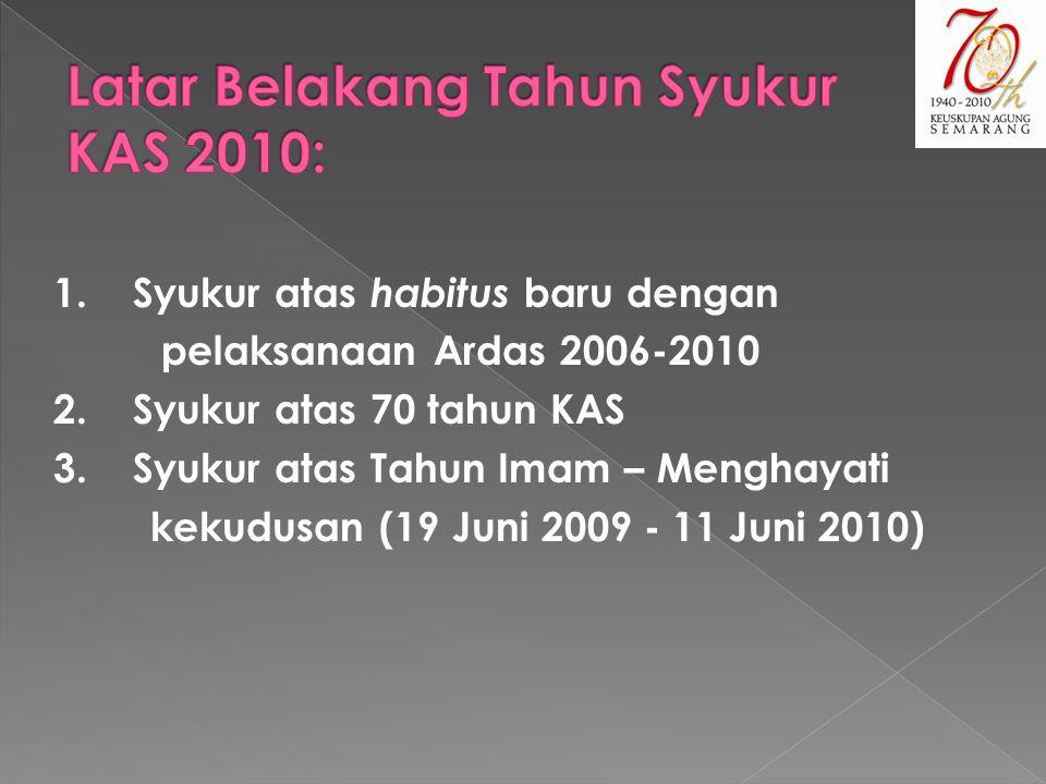1.Syukur atas habitus baru dengan pelaksanaan Ardas 2006-2010 2.