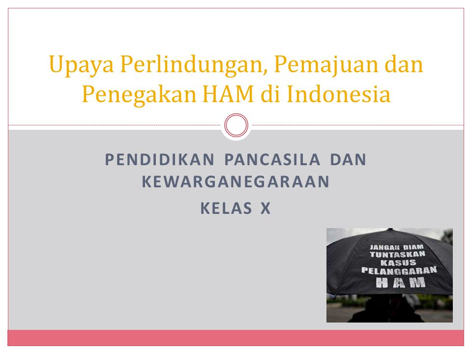Kompetensi Dasar 3.1 Menganalisis kasus-kasus pelanggaran HAM dalam rangka pelindungan dan pemajuan HAM sesuai dengan nilai-nilai Pancasila dalam kehidupan bermasyarakat, berbangsa, dan bernegara.