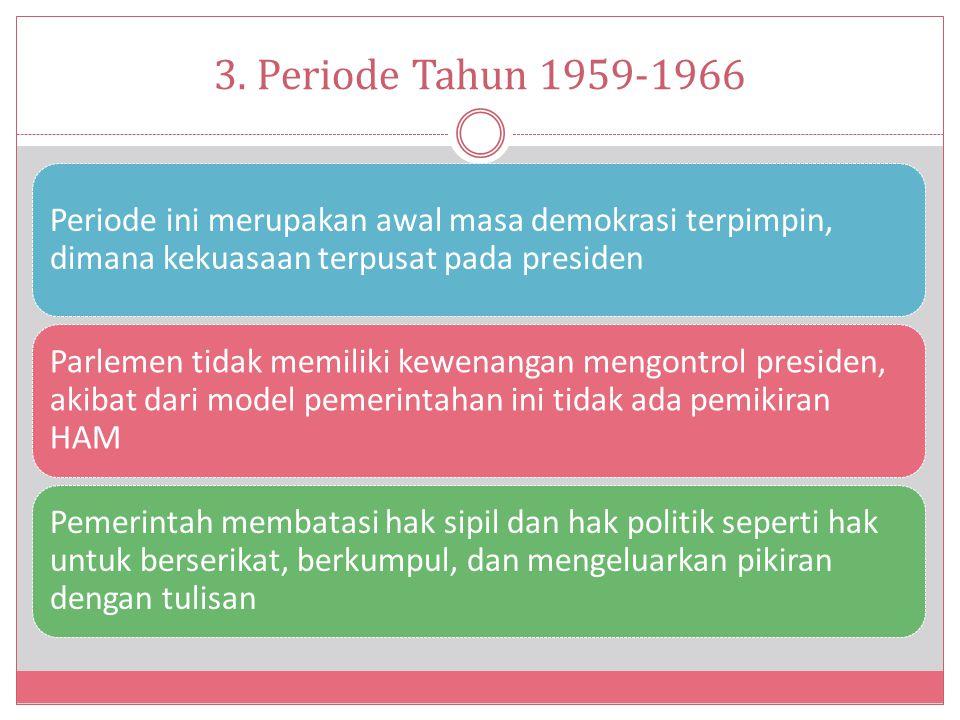 3. Periode Tahun 1959-1966 Periode ini merupakan awal masa demokrasi terpimpin, dimana kekuasaan terpusat pada presiden Parlemen tidak memiliki kewena