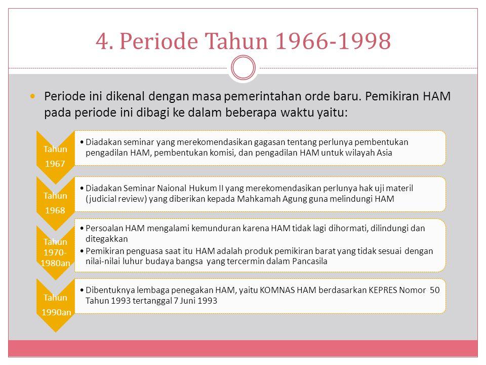 4.Periode Tahun 1966-1998 Periode ini dikenal dengan masa pemerintahan orde baru.