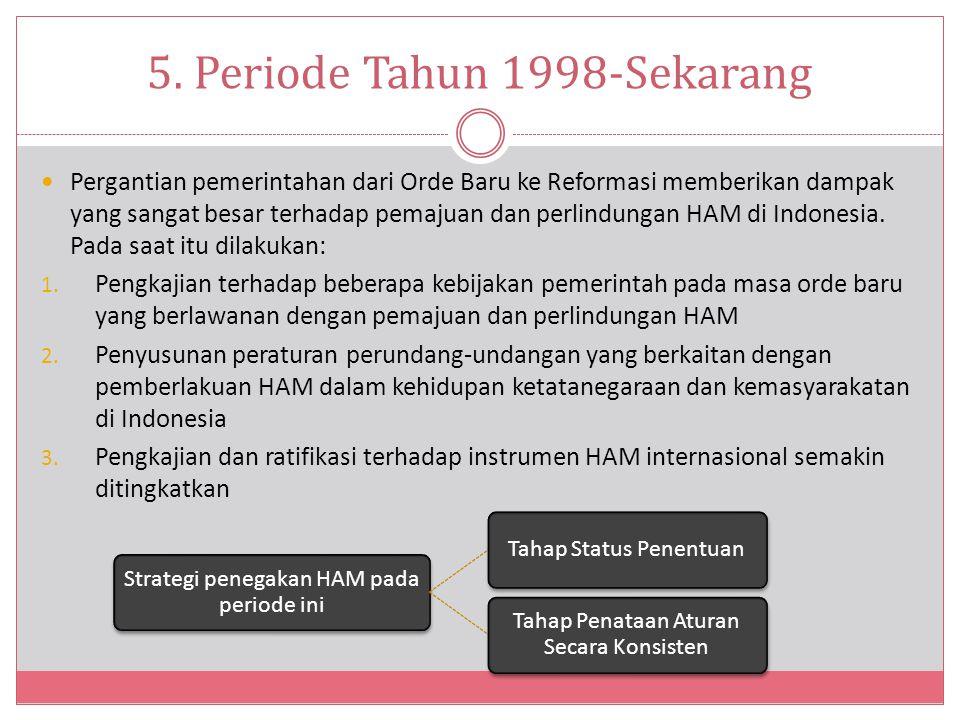 5. Periode Tahun 1998-Sekarang Pergantian pemerintahan dari Orde Baru ke Reformasi memberikan dampak yang sangat besar terhadap pemajuan dan perlindun