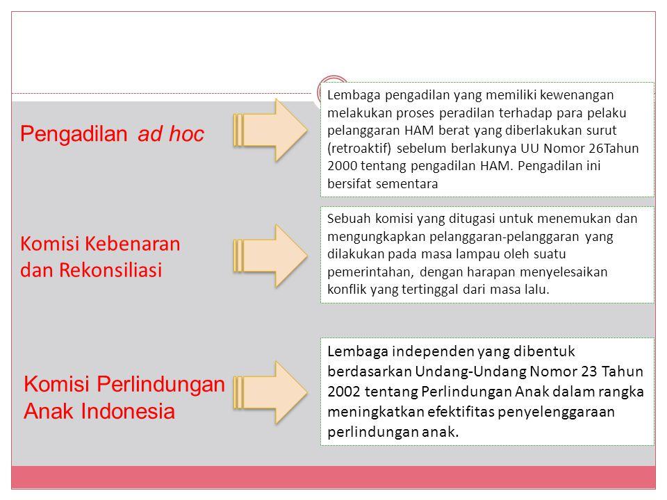 Pengadilan ad hoc Komisi Kebenaran dan Rekonsiliasi Komisi Perlindungan Anak Indonesia Lembaga pengadilan yang memiliki kewenangan melakukan proses peradilan terhadap para pelaku pelanggaran HAM berat yang diberlakukan surut (retroaktif) sebelum berlakunya UU Nomor 26Tahun 2000 tentang pengadilan HAM.
