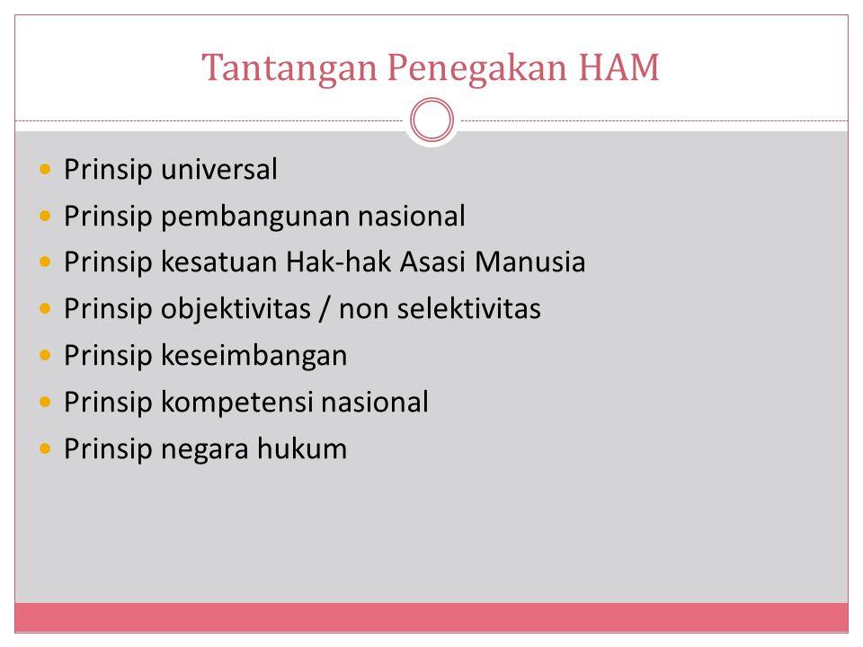 Tantangan Penegakan HAM Prinsip universal Prinsip pembangunan nasional Prinsip kesatuan Hak-hak Asasi Manusia Prinsip objektivitas / non selektivitas Prinsip keseimbangan Prinsip kompetensi nasional Prinsip negara hukum