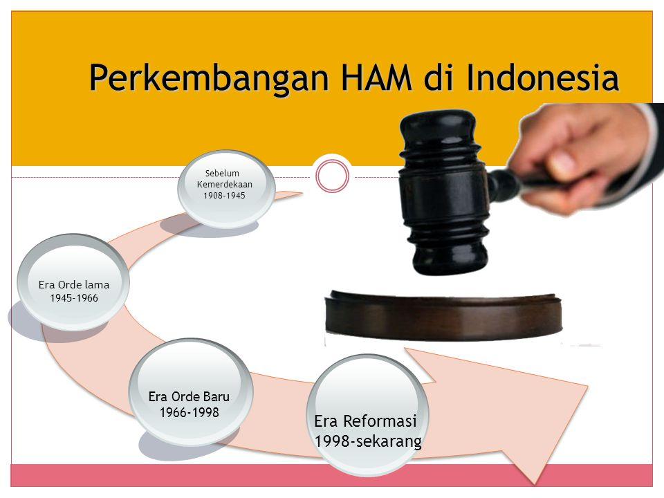 Perkembangan HAM di Indonesia Era Reformasi 1998-sekarang Era Orde Baru 1966-1998 Era Orde lama 1945-1966 Sebelum Kemerdekaan 1908-1945