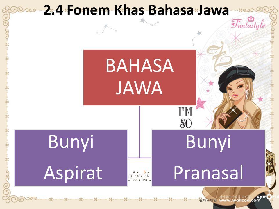 2.4 Fonem Khas Bahasa Jawa BAHASA JAWA Bunyi Aspirat Bunyi Pranasal