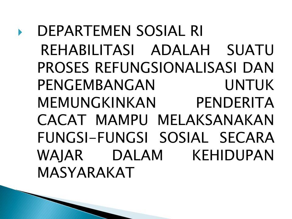  DEPARTEMEN SOSIAL RI REHABILITASI ADALAH SUATU PROSES REFUNGSIONALISASI DAN PENGEMBANGAN UNTUK MEMUNGKINKAN PENDERITA CACAT MAMPU MELAKSANAKAN FUNGSI-FUNGSI SOSIAL SECARA WAJAR DALAM KEHIDUPAN MASYARAKAT