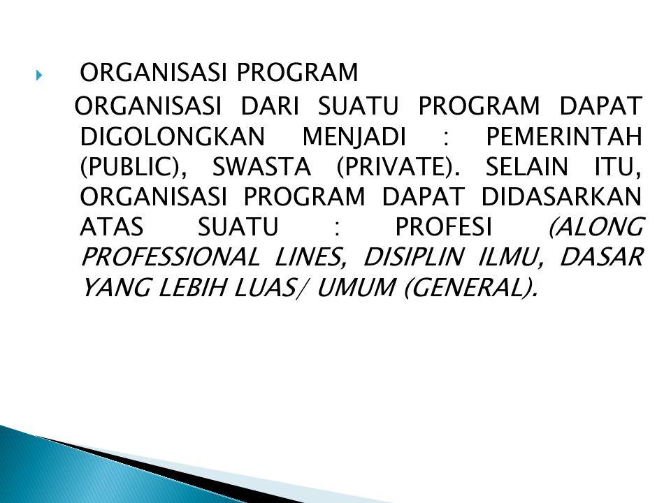  ORGANISASI PROGRAM ORGANISASI DARI SUATU PROGRAM DAPAT DIGOLONGKAN MENJADI : PEMERINTAH (PUBLIC), SWASTA (PRIVATE). SELAIN ITU, ORGANISASI PROGRAM D