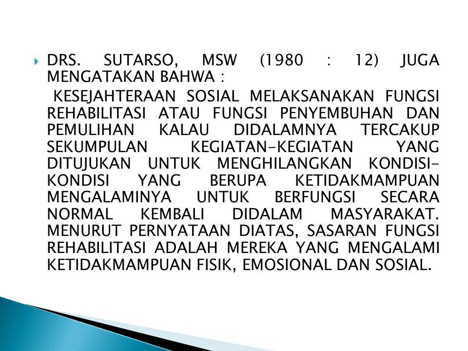  DRS. SUTARSO, MSW (1980 : 12) JUGA MENGATAKAN BAHWA : KESEJAHTERAAN SOSIAL MELAKSANAKAN FUNGSI REHABILITASI ATAU FUNGSI PENYEMBUHAN DAN PEMULIHAN KA