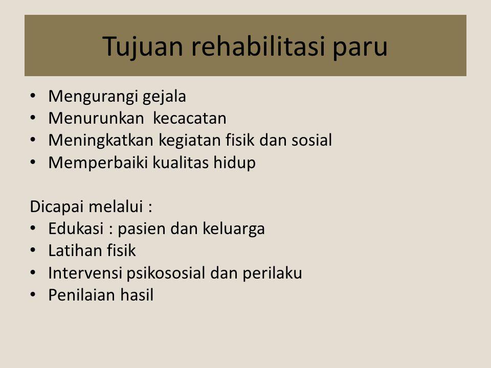 Manfaat rehabilitasi paru Meningkatnya kemandirian Perbaikan kualitas hidup Berkurangnya angka rawatan RS Menurun waktu rawatan RS