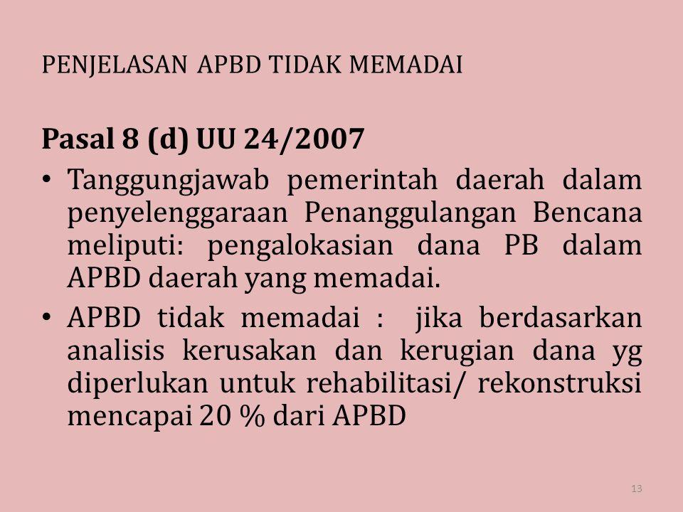 PENJELASAN APBD TIDAK MEMADAI Pasal 8 (d) UU 24/2007 Tanggungjawab pemerintah daerah dalam penyelenggaraan Penanggulangan Bencana meliputi: pengalokas