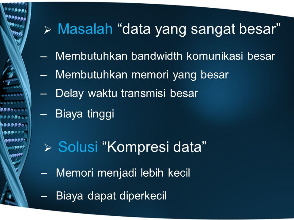  Masalah data yang sangat besar –Membutuhkan bandwidth komunikasi besar –Membutuhkan memori yang besar –Delay waktu transmisi besar –Biaya tinggi   Solusi Kompresi data – –Memori menjadi lebih kecil – –Biaya dapat diperkecil