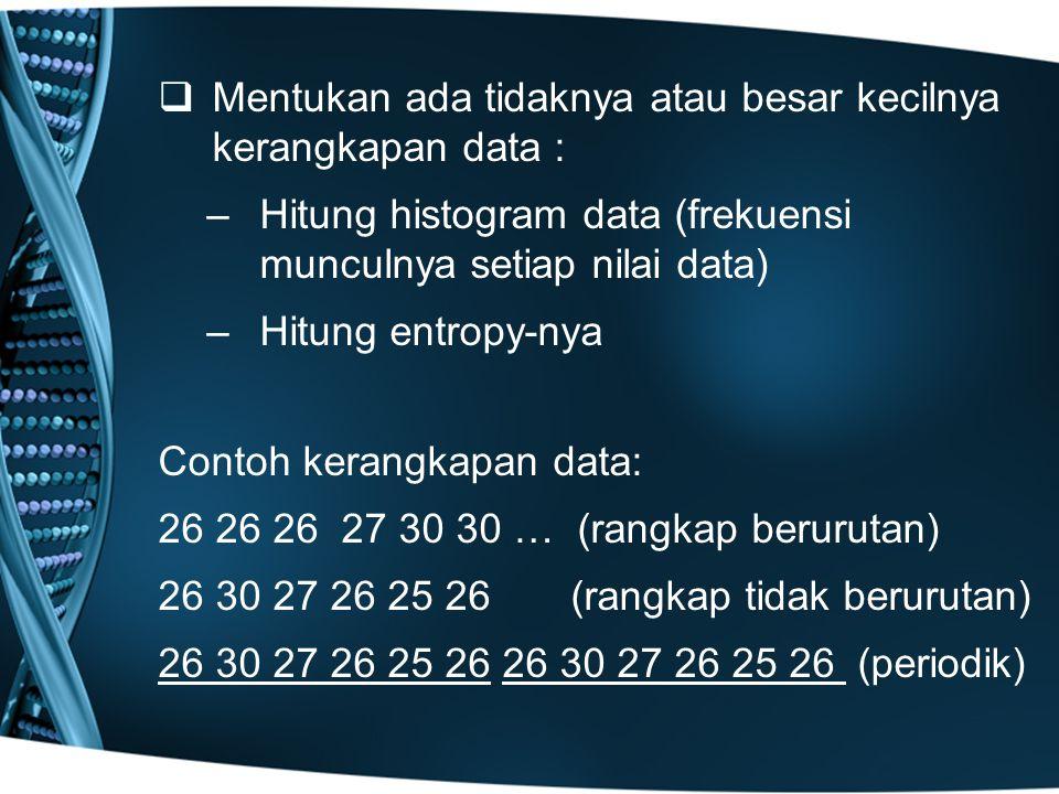   Mentukan ada tidaknya atau besar kecilnya kerangkapan data : – –Hitung histogram data (frekuensi munculnya setiap nilai data) – –Hitung entropy-nya Contoh kerangkapan data: 26 26 26 27 30 30 … (rangkap berurutan) 26 30 27 26 25 26 (rangkap tidak berurutan) 26 30 27 26 25 26 26 30 27 26 25 26 (periodik)