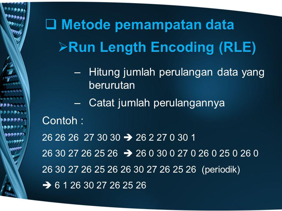  Metode pemampatan data  Run Length Encoding (RLE) – –Hitung jumlah perulangan data yang berurutan – –Catat jumlah perulangannya Contoh : 26 26 26 27 30 30  26 2 27 0 30 1 26 30 27 26 25 26  26 0 30 0 27 0 26 0 25 0 26 0 26 30 27 26 25 26 26 30 27 26 25 26 (periodik)  6 1 26 30 27 26 25 26