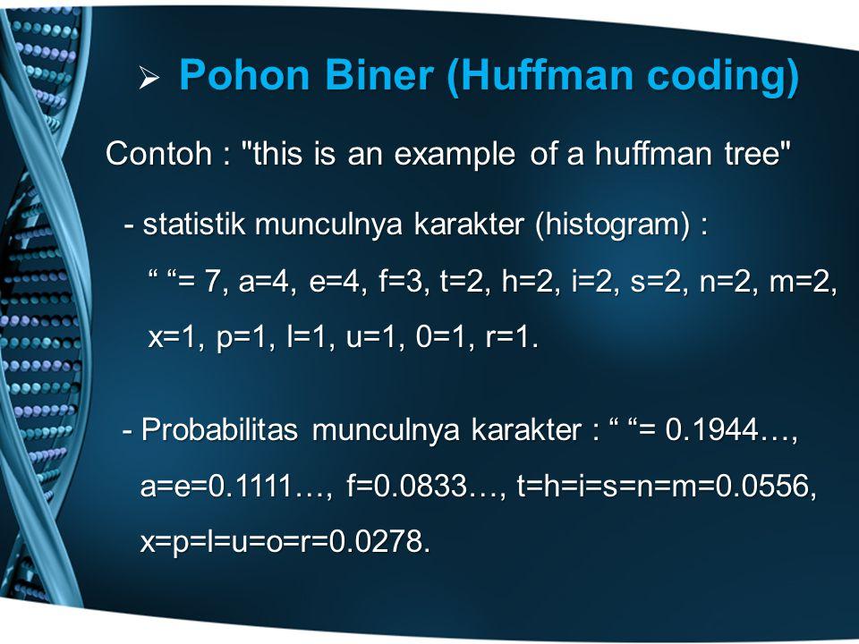  Pohon Biner (Huffman coding) Contoh : this is an example of a huffman tree - statistik munculnya karakter (histogram) : - statistik munculnya karakter (histogram) : = 7, a=4, e=4, f=3, t=2, h=2, i=2, s=2, n=2, m=2, = 7, a=4, e=4, f=3, t=2, h=2, i=2, s=2, n=2, m=2, x=1, p=1, l=1, u=1, 0=1, r=1.