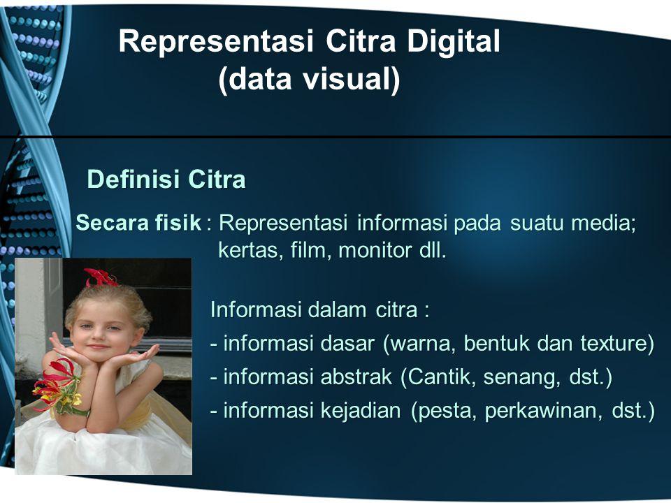 Secara fisik : Representasi informasi pada suatu media; Secara fisik : Representasi informasi pada suatu media; kertas, film, monitor dll.