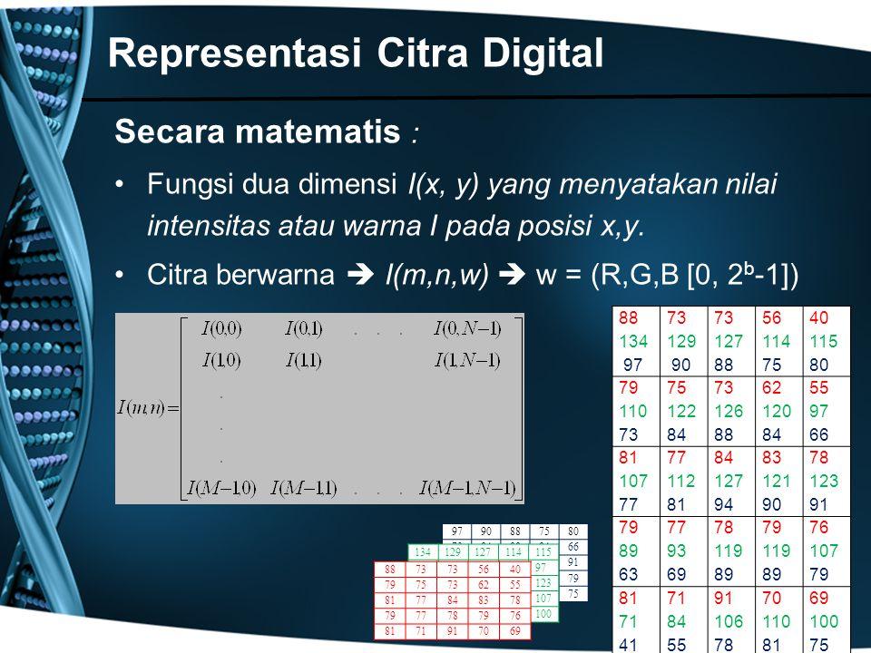 9790887580 7384888466 7781949091 636989 79 4155788175 Secara matematis : Fungsi dua dimensi I(x, y) yang menyatakan nilai intensitas atau warna I pada
